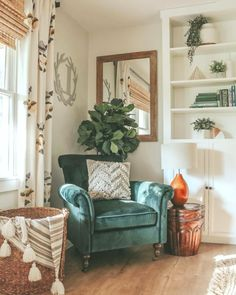 # space saving # apartment # apartment saving space # apartment saving space – Wohnung – Home Cepoxy Painted Built Ins, Green Accent Chair, Colorful Accent Chairs, My New Room, Cozy House, Home Decor Inspiration, Decor Ideas, Room Ideas, Style Inspiration