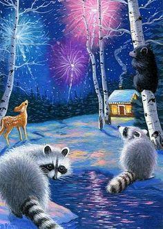 Raccoons Opossum Stars Moon Gazing Friends Summer ACEO Print from Original