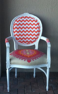 Louis XVI Chair. Trina Turk Fabric.Arm Chair.Pink.Orange.Upholstered Chair.Side Chair.Accent Chair.Desk Chair on Etsy, $345.00