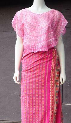 Filipiniana Filipino Pink Kimona Beaded Scalloped Super Nice