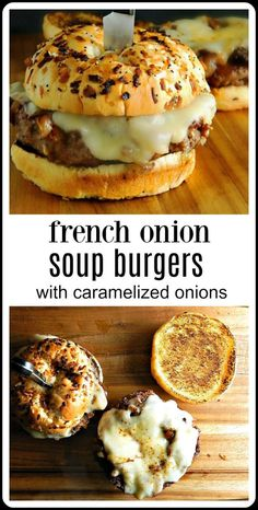 burger recipes Youre going to go crazy over French Onion Soup Burgers topped with caramelized onions and Provolone or Gruyere cheese. Stovetop or Grill. Plus a shortcut method to get real caramelized onions! Cheese Burger Soup Recipes, Meat Recipes, Gourmet Recipes, Cooking Recipes, Stuffed Hamburger Recipes, Recipes With Onion Soup, Onion Soup Hamburger Recipe, Recipe With Onions, French Onion Soup Burger Recipe
