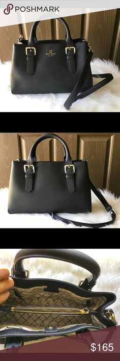 "Kate Spade Cove Street Provence Black Satchel Measures 13""L x 4.5""D x 8.2""W. Features 2 open interior pockets and 2 zippered pockets. Compact purse, but very roomy. Used once, no stains or visible signs of wear. Looks new. kate spade Bags Satchels"