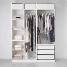 Ikea Pax Wardrobe, Bedroom Wardrobe, Pax Closet, Closet Doors, Ikea Wardrobe Design, Ikea White Wardrobe, Ikea Fitted Wardrobes, Ikea Wardrobe Storage, Open Wardrobes
