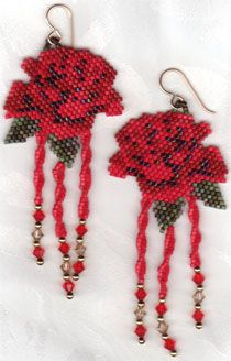 Beaded Images - Red Rose Earrings