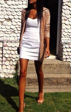 Sequin cardigan & white dress