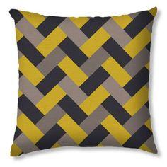 Capa De Almofada Trança Preto Amarelo E Cinza 40X40 cm Haus For Fun Diy Pillows, Throw Pillows, Patchwork Cushion, Grey Chevron, Decorative Cushions, Bargello, Small Quilts, Cotton Pillow, Quilt Patterns