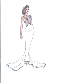 Turquoise and White Evening Gown