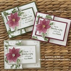 Stylish Christmas: using Mossy Meadow, Merry Merlot, Sahara Sand with Balmy Blue and Powder Pink Boxed Christmas Cards, Homemade Christmas Cards, Stampin Up Christmas, Xmas Cards, Homemade Cards, Handmade Christmas, Holiday Cards, Christmas Music, Christmas Ideas