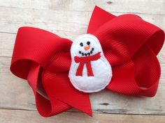 A personal favorite from my Etsy shop https://www.etsy.com/listing/209732376/snowman-hair-bow-winter-hair-bow-snowman