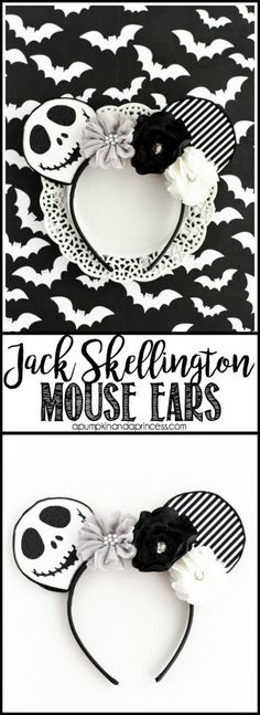 """DIY No-Sew Jack Skellington Mouse Ears ân€"""" easy tutorial and template to make your own mouse ears!"""