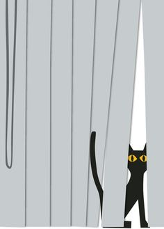 """Artist: R. Nichols ~ Cat in Blinds Note Cards ~ """"The sequel to our smash """"cat in box"""" note card, this design will speak to any cat owner.  You know who you are."""""""