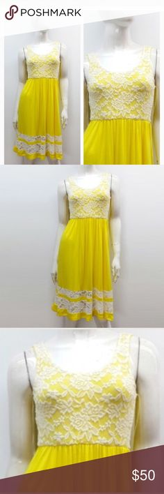 "JUST Listed: Sleeveless Lace-Layered Jersey Dress ✨JUST Listed: Sleeveless Lace-Layered Jersey Dress  Measurements (laying flat)   Chest (Pit-Pit)- S-12"" (This dress has stretch up to an additional 2"")  Length (Shoulder-Hem) S-35""  Color: Yellow  Condition: NWT  96% Polyester 4% Spandex  🇺🇸 Made in USA  🇺🇸    ❌Trades❌  ⚡️I ship lightening fast⚡️  ✨ Price is Firm✨ Dresses"