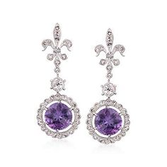Ross-Simons - C. 2000 Vintage 3.20 ct. t.w. Amethyst and 1.00 ct. t.w. Diamond Fleur-De-Lis Earrings in 14kt White Gold - #811586