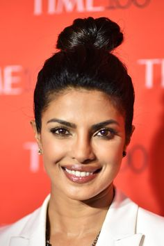 Priyanka Chopra Hair Knot - Priyanka Chopra opted for a trendy top knot when she attended the Time 100 Gala. Priyanka Chopra Hair, Hair Knot, Trendy Tops, Top Knot, Knots, Celebrity Style, Celebrities, High Bun, Celebs
