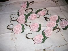 Pink Rose Shower Curtain Hooks