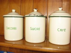 Three enamel cannisters french enamelware storage tins french country kitchen home decor