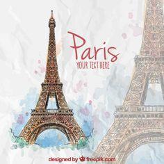 pintada a mano la torre Eiffel Vector Gratis