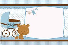 Kit Digital para Imprimir, Ursinho Marrom e Azul, para Chá de Bebê, Chá de Fraldas e Aniversário. Imprimibles Baby Shower, Baby Shower Invitaciones, Pop Baby Showers, Baby Boy Shower, Baby Shower Garcon, Scrapbook Bebe, Baby Shower Decorations Neutral, Boy Christening, Baby Shawer