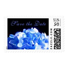 Cobalt blue Hydrangea - save the date Postage - flowers floral flower design unique style