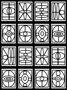 Free Geometric Stained Glass Window Coloring Pages by Dover Publications
