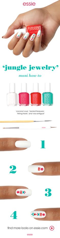 Dance to the beat of your own drum this festival season with this essie 'jungle jewelry' nail art design -- recreate this essie summer nail art look using 'coconut cove', 'berried treasures', 'hiking heels', and 'viva antigua!'.