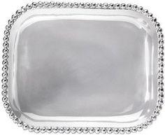 Design Chic - Mariposa Pearled Rectangular Platter, $98.00 (http://www.shopdesignchic.com/mariposa-pearled-rectangular-platter/). Stunning silver platter. #HomeDecor