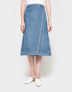 Fold Skirt in Denim