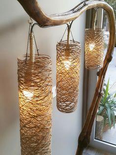 Easy and Cheap Lighting DIY ideas - handmade chandelier Diy Para A Casa, Diy Casa, Chandelier In Living Room, Diy Chandelier, Bedroom Lamps, Handmade Chandelier, Handmade Lamps, Handmade Home Decor, Diy Home Decor