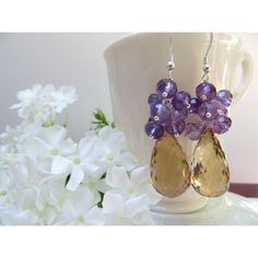 Amethyst Earrings, Golden Quartz Earrings, Faceted Amethyst Semi... (€23) via Polyvore featuring jewelry, earrings, golden earring, sterling silver jewellery, amethyst earrings, gemstone jewellery and birthstone jewelry