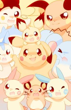 """""""Pikachu clones"""" Pichu, Pikachu, Raichu, Marill, Plusle, Minun, Pachirisu, Emolga and Dedenne"""