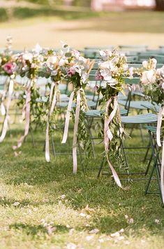 chair Wedding Ceremony Decorations, Ceremony Backdrop, Greenery Decor, Garden Wedding Inspiration, French Chairs, French Chateau, Floral Wedding, Floral Arrangements, Florals