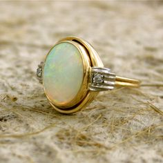 Vintage Two Toned 14k Yellow White Gold White Opal Diamond Ring - Reserved for…