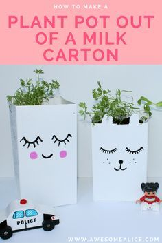 How to Make Recycled Milk Carton Pots for Seed Startin. This recycling project is easy and great for young kids who loves to paint. And the finished planted pots are a great gift idea to give to teachers or grandparents. Click here to get to the tutorial.