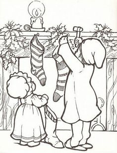 Coloring Pages for Kids Christmas Colors, Christmas Art, Christmas Stockings, Sue Sunbonnet, Diy Xmas, Christmas Coloring Sheets, Illustration Noel, Theme Noel, Christmas Drawing
