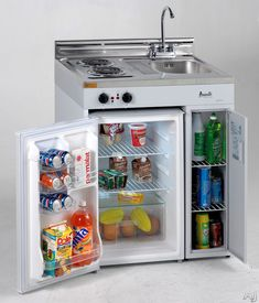 """3-in-1 kitchen/stove/fridge... Avanti CK302 30"""" Complete Compact Kitchen with 3.0 cu. ft. Auto-Defrost All-Refrigerator, 2 Coil Element Cooktop, Sink/Faucet and Integrated..."""