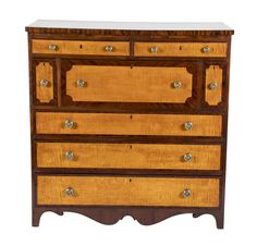 American Tiger Maple and Mahogany Server Single Tree, Neoclassical, Drawer Fronts, 19th Century, Drawers, Victorian, Deep, Lighting, Antiques