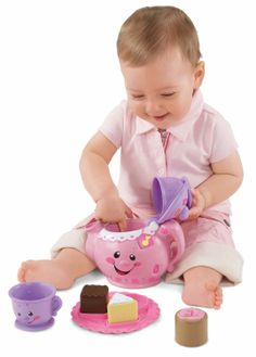 Fisher-Price Laugh  Learn Say Please Tea Set. 3 play modes: Learning, Music and Imagination. Teaches baby about numbers, shapes, opposites, manners, greetings and more. Press the teabag to hear a song