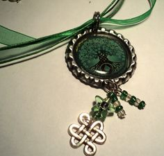 Green Tree of Life Bottle Cap Necklace with by KnittyKatBoutique, $5.50
