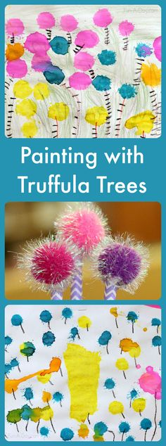 Seuss Art Projects One of our favorite Dr. Seuss art projects is definitely painting with homemade Truffula trees. This vibrant preschool art project was inspired by The Lorax Dr. Seuss, Dr Seuss Art, Dr Seuss Crafts, Dr Seuss Week, Preschool Art Projects, Preschool Crafts, Projects For Kids, Crafts For Kids, Preschool Ideas