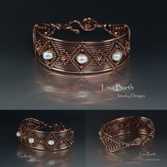 Here's a hand woven bracelet, in copper with baroque, cultured pearls as accents.  Basic pattern of this bracelet will be in the book coming out this fall.  :) --Lisa Barth