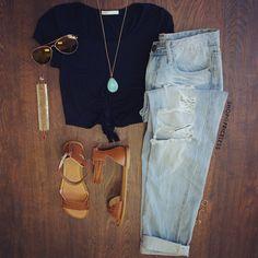 Black Crop Top + Denim + Sandals