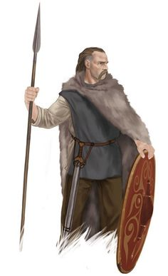 Germanic Chatti warrior armed and ready for a raid. The warrior is an exceptionally wealthy man for he is armed with a sword of Gallic origin which may or may not have been taken in trade. The shield is also of high quality.