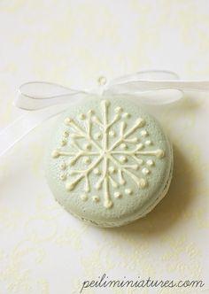 Snowflake Faux Macaron Christmas Tree Ornament