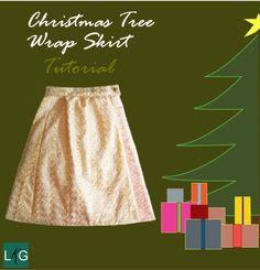 Christmas Tree Wrap Skirt for girls // Little Kid Grow