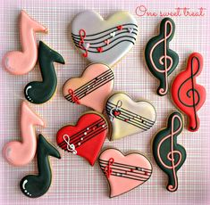 Valentine's Day cookies. Music notes and hearts. www.OneSweetTreat.com