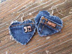 Earring - Heart-Shaped, Recycled Designer Joe's Jeans Brand Denim - Upcycled