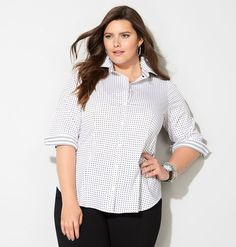 BLK-WHT PRNT DOT BF SHIRT, Black White - LOVE the contrasting cuff detail