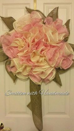 Lg. Cream & Pink Paper Mesh Burlap Carnation Spring Wreath or Lavender & Cream