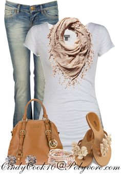 """Jeans,tee and a little pink"" by cindycook10 on Polyvore"
