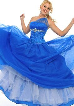 One Shoulder Dropped Tulle Sleeveless Ball Gown Prom Gown - 1300104794B - US$139.99 - BellasDress